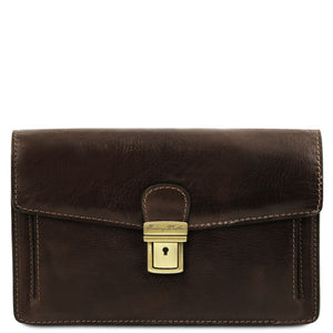 Front View Of The Dark Brown Leather Wrist Bag