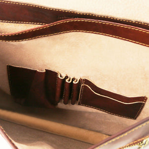Internal Accesories Holders View Of The Brown Classic Leather Briefcase