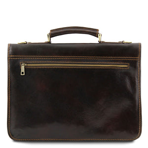 Rear View Of The Dark Brown Classic Leather Briefcase