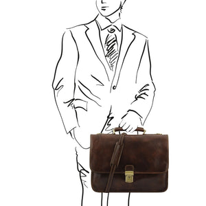 Man Posing With The Dark Brown Classic Leather Briefcase