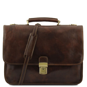 Front View Of The Dark Brown Classic Leather Briefcase