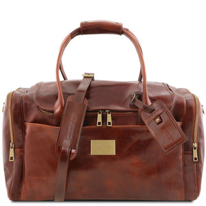 Front View Of The Brown Mens Travel Bag