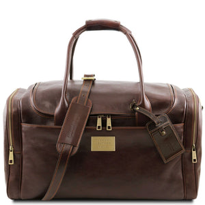 Front View Of The Dark Brown Mens Travel Bag