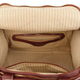 Internal Opening Sized View Of The Brown Large Leather Travel Bag Mens