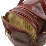 Side Pocket View Of The Brown Mens Travel Bag Small