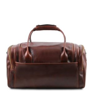 Rear View Of The Brown Mens Travel Bag Small