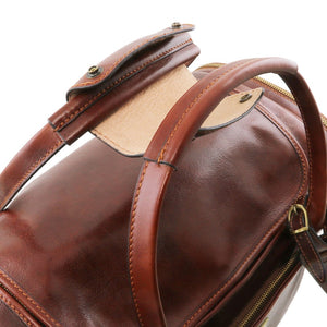 Top Handles View Of The Brown Mens Travel Bag Small