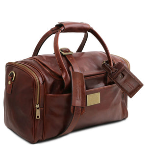 Angled And Shoulder Strap View Of The Brown Mens Travel Bag Small