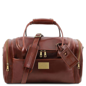 Front View Of The Brown Mens Travel Bag Small