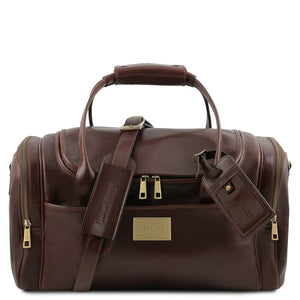Front View Of The Dark Brown Mens Travel Bag Small