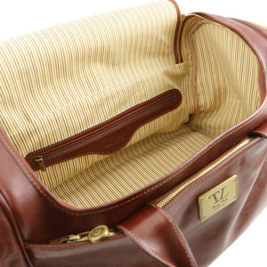 Internal View Of The Brown Mens Travel Bag
