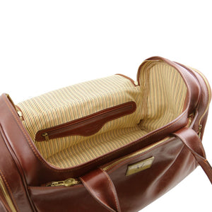 Internal Zip Pocket View Of The Brown Mens Travel Bag