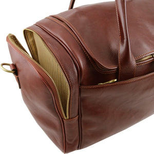 Side Pocket View Of The Brown Mens Travel Bag
