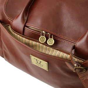 Front Pocket View Of The Brown Mens Travel Bag
