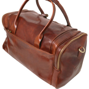Angled View Of The Brown Mens Travel Bag