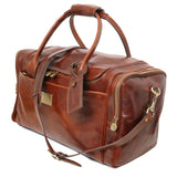 Angled And Shoulder Strap View Of The Brown Mens Travel Bag