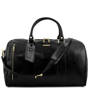 Front View Of The Black Leather Duffle Bag Large