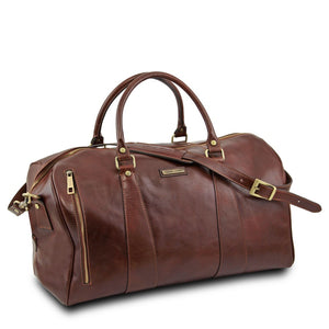 Angled And Leather Shoulder Strap View Of The Brown Leather Duffle Bag Large