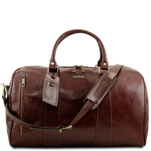 Front View Of The Brown Leather Duffle Bag Large