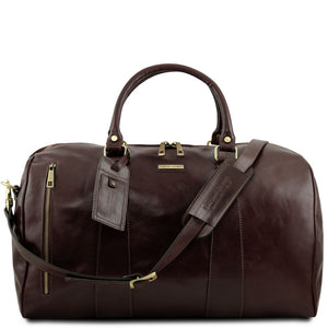 Front View Of The Dark Brown Leather Duffle Bag Large