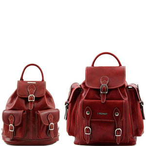 Front View Of The Red Leather Travel Backpack Set