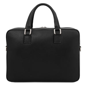 Rear View Of The Black Professional Laptop Briefcase