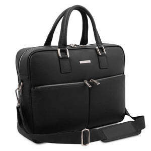 Angled And Shoulder Strap View Of The Black Professional Laptop Briefcase