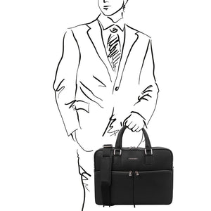 Man Posing With The Black Professional Laptop Briefcase