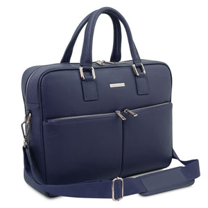 Angled And Shoulder Strap View Of The Dark Blue Professional Laptop Briefcase