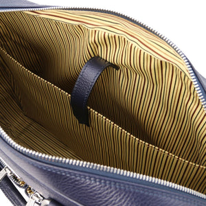 Internal Compartment View Of The Dark Blue Professional Laptop Briefcase