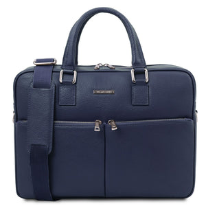 Front View Of The Dark Blue Professional Laptop Briefcase