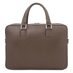 Rear View Of The Dark Taupe Professional Laptop Briefcase