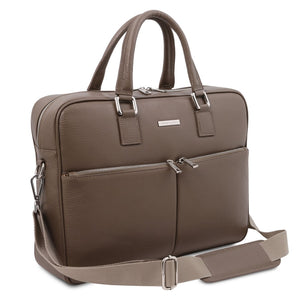 Angled And Shoulder Strap View Of The Dark Taupe Professional Laptop Briefcase