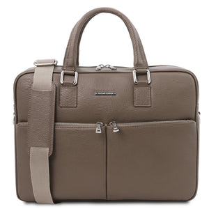 Front View Of The Dark Taupe Professional Laptop Briefcase