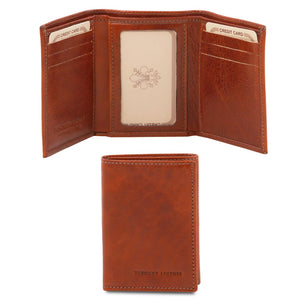 Front And Closed View Of The Brown Mens Credit Card Holder