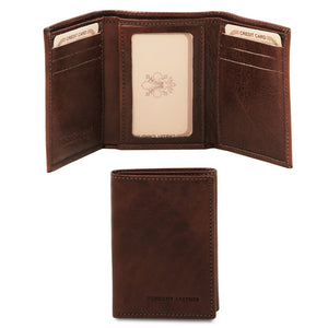 Front And Closed View Of The Dark Brown Mens Credit Card Holder