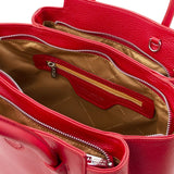 Internal Zip Pocket View Of The Lipstick Red Tulipan Italian Leather Handbag