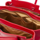Internal Pocket View Of The Lipstick Red Tulipan Italian Leather Handbag