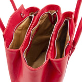 Overhead Compartment View Of The Lipstick Red Tulipan Italian Leather Handbag