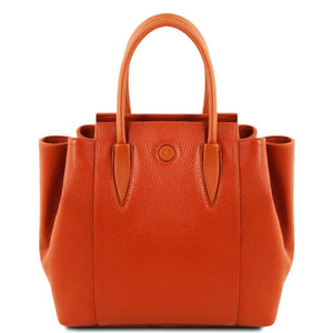 Front View Of The Brandy Tulipan Italian Leather Handbag