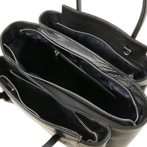 Overhead Internal Zip Pocket View Of The Black Tulipan Italian Leather Handbag