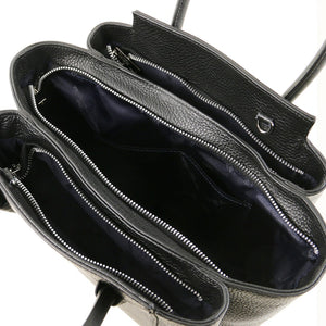 Overhead View Of The Black Tulipan Italian Leather Handbag