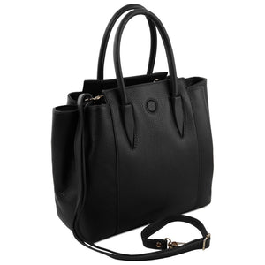 Angled View Of The Black Tulipan Italian Leather Handbag