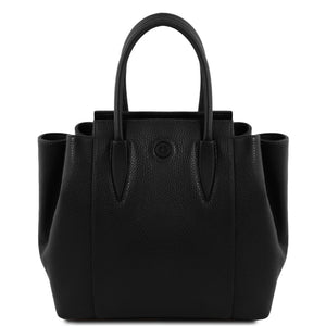 Front View Of The Black Tulipan Italian Leather Handbag