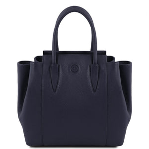 Front View Of The Dark Blue Tulipan Italian Leather Handbag