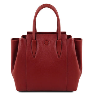 Front View Of The Red Italian Leather Handbag