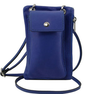 Front View Of The Blue Cellphone Holder and Mini Crossbody Bag