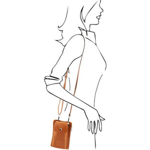 Sketch Of Women Posing With The Cognac Cellphone Holder and Mini Crossbody Bag