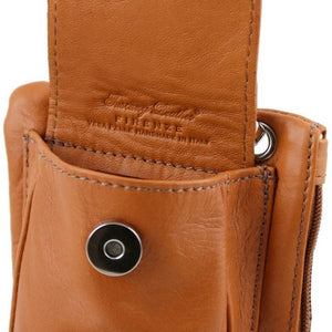 Front Pocket Magnetic Button Closer View Of The Cognac Cellphone Holder and Mini Crossbody Bag
