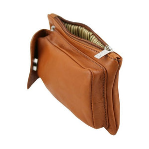 Zip Closure View Of The Cognac Cellphone Holder and Mini Crossbody Bag
